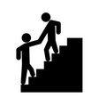 man helping climb other man vector image