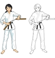 Asian Nunchuck girl in karategi vector image vector image