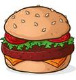 big juicy hamburger cartoon vector image vector image