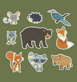 big set with hand drawn forest animals vector image vector image