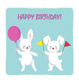 birthday postcard template with two happy bunnies vector image vector image
