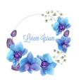 blue orchids watercolor wreath delicate vector image vector image