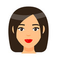 brown-haired girl with red lips short bob haircut vector image vector image