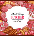 butcher shop poster with frame of meat and sausage vector image vector image