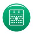 calendar page icon green vector image vector image