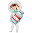 cartoon character of a doctor holding a covid-19 vector image vector image