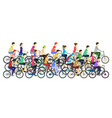 cartoon color cyclists different types in crowd vector image vector image