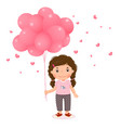 cartoon girl holding pink balloons vector image vector image