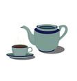 ceramic coffee pot set kitchenware vector image vector image