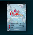 christmas party flyer with snowflakes vector image vector image