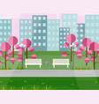 city park view springtime seasons vector image vector image