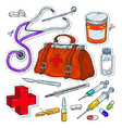 comic style icons sticker of medical tools vector image vector image