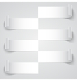 Curled blank paper stripe banners with shadows on vector image vector image