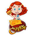 Cute girl having cheeseburger vector image
