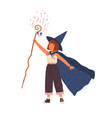 cute girl wearing witch hat and cloak conjures vector image vector image