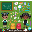 cute schoolgirls and set school supplies vector image
