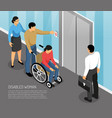 disabled woman isometric vector image vector image
