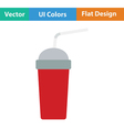 Disposable soda cup and flexible stick icon vector image vector image