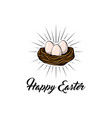 easter egg in bird nest easter greeting card vector image