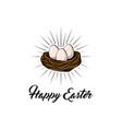 easter egg in bird nest easter greeting card vector image vector image