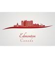 Edmonton V2 skyline in red vector image vector image