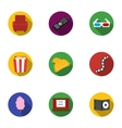 Films and cinema set icons in flat style Big vector image vector image