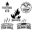 fish and seafood bbq set vector image