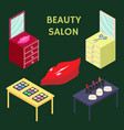 flat 3d isometric creative beauty salon new vector image vector image