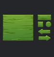 game ui kit template green wooden menu vector image vector image