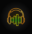golden music headphones with equalizer line vector image