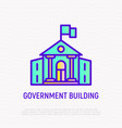 government building with flag thin line icon vector image vector image