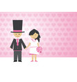 groom and bride with a bouquet on love background vector image