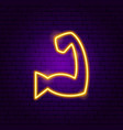 hand muscle neon sign vector image vector image