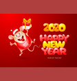 happy new year year rat vector image vector image