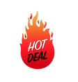 hot deals label isolated white background vector image vector image