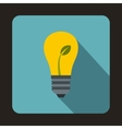Light bulb with sprout icon flat style vector image vector image