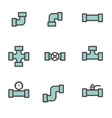 line flat pipe fittings icon set vector image vector image