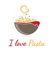 Logo template pasta in bowl vector image