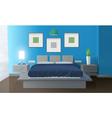 Modern Bedroom Blue Interior vector image vector image