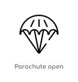 outline parachute open icon isolated black simple vector image vector image