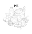 Pie Baking Components Still Life Hand Drawn vector image
