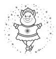 pig snow maiden- dancing on skates symbol 2019 vector image vector image