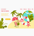 pink flamingo stay beach chair and palm tree vector image
