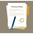 privacy policy document paper legal aggreement vector image vector image