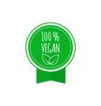 round vegan eco bio green badge with leaf vegan vector image vector image