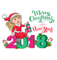 santa claus girl christmas and new year 2018 card vector image vector image