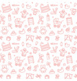 seamless background with linear baby care symbols vector image vector image