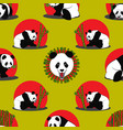 seamless pattern of panda bear vector image