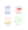 set sketch logos for cafe or restaurant vector image vector image