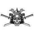 skull japanese samurai and two swords vector image vector image